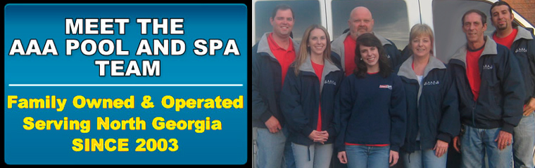 Picture of the AAA Pool and Spa crew hanging around the company van